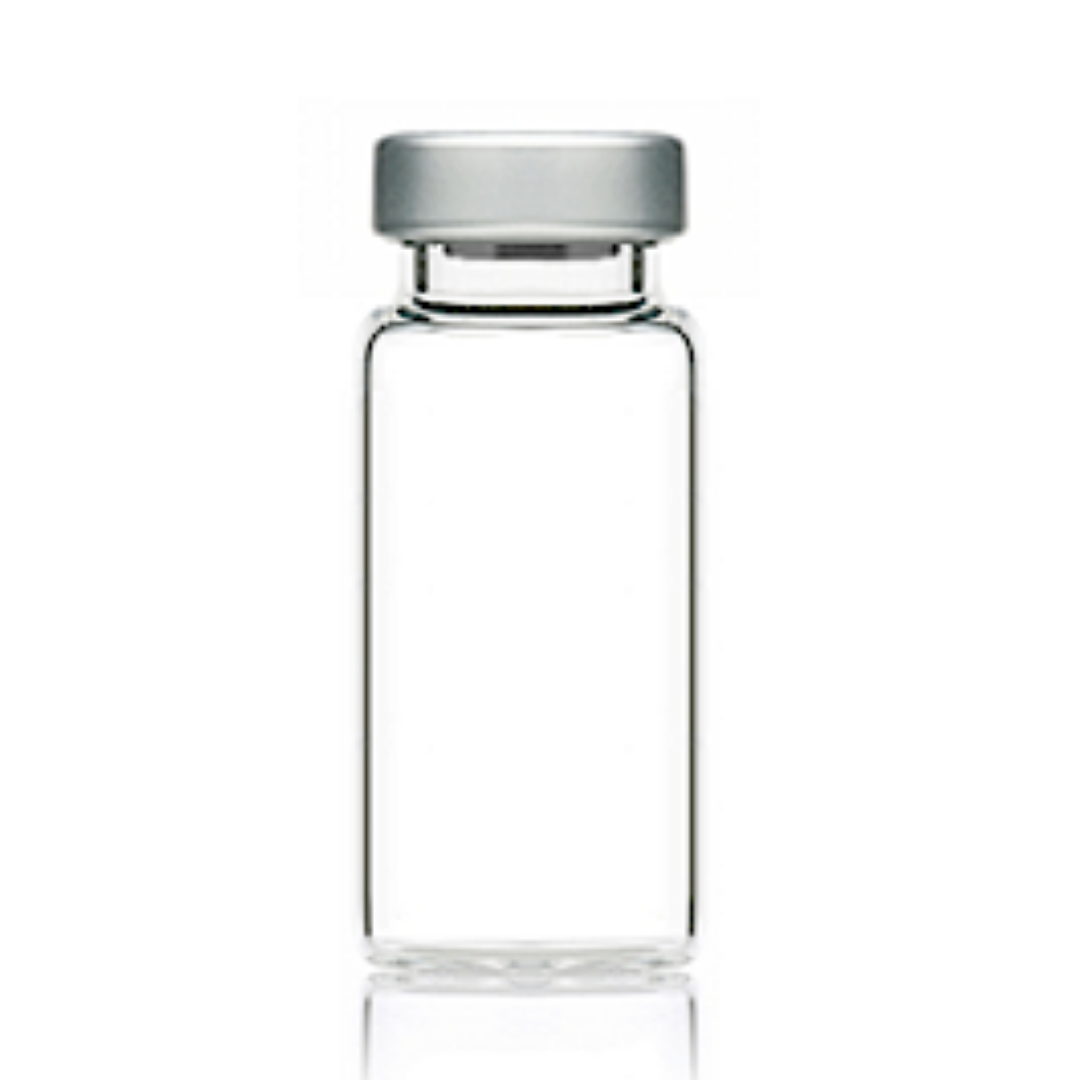 Clear glass vial for mixing HCG